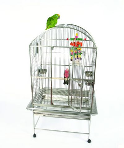Stainless Steel Grey Palace Dometop Bird Cage by AE Cage Co