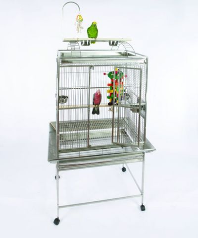Stainless Steel Grey Palace Playtop Bird Cage