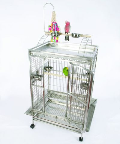 Stainless Steel Grey Palace XL Playtop Bird Cage